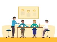 Zakelijk gesprek grafisch 4 mensen kantoor